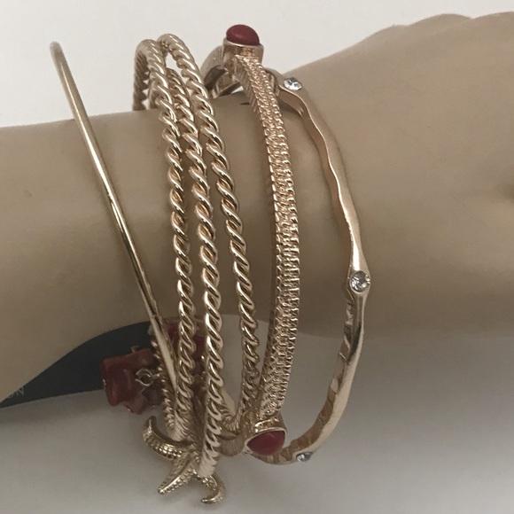 Nordstrom Jewelry Rack Red Gold Beachy Bangle Bracelets Poshmark